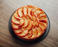 Apple tart cake on wooden table top Stock Photography