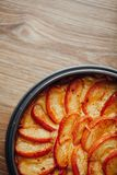 Apple tart cake on wooden table top Royalty Free Stock Images