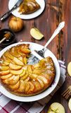 Apple tart with caramel and cinnamon on wooden table. Homemade apple tart with caramel and cinnamon on wooden table royalty free stock photography