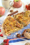 Apple tart with caramel filling Stock Images
