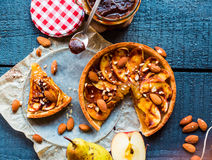 Apple tart with caramel, a piece of cake, top view Royalty Free Stock Photos