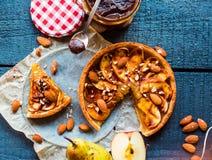 Apple tart with caramel, a piece of cake, top view Royalty Free Stock Photos