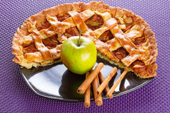 Apple tart with cinnamon. On the plate Stock Image