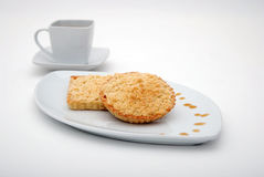 Apple Tart with coffee. Apple cake with crumble on white background Stock Images