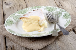Apple tart with custard on a plate Royalty Free Stock Photo