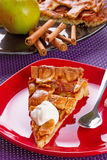 Apple tart dessert with cream. On the plate Stock Photos