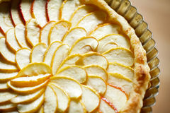 Apple tart detail with apple slices fanned in a pa. Classic apple tart detail with apple slices fanned in a pattern topped with melted sugar Royalty Free Stock Images