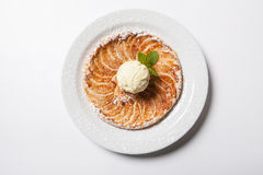 Apple tart, flat apple pie with ice cream on the white background.  Stock Images