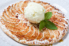 Apple tart, flat apple pie with ice cream on the white background.  Royalty Free Stock Images