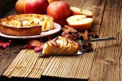 Apple tart. Gourmet traditional holiday apple pie sweet baked de. Ssert food with cinnamon and apples on vintage background. Autumn decor. Rustic style stock photo