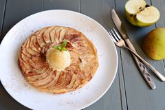Apple tart. With ice cream Stock Photos