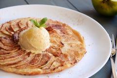 Apple tart. With ice cream Stock Photo