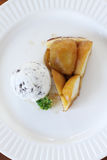 Apple tart with  ice cream Royalty Free Stock Photography