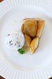 Apple tart with  ice cream. Warm apple tart with ice cream Royalty Free Stock Photography