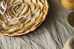 Apple Tart. Open apple pie, laid out in the shape of a rose Stock Photos