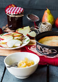 Apple tart with pear jam and caramel. French dessert Royalty Free Stock Images