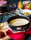 Apple tart with pear jam and caramel. French dessert Royalty Free Stock Photo