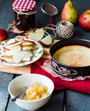 Apple tart with pear jam and caramel Stock Photography