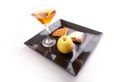 Apple Tart Slices with Drink Stock Photos