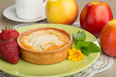 Apple Tart, Strawberries and Apples Stock Images