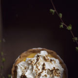Apple tart. Top view of an apple tart decorated with whipped cream and cinnamon. Selective focus Royalty Free Stock Photography