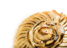 Apple tart. Traditional french sweet dessert isolated on white background. Delicious, appetizing, homemade pie with Royalty Free Stock Image