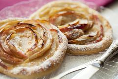 Apple tartlets, puff pastry. Apple pie. Closeup. Homemade bakery. Top view. stock photography