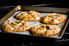 Apple tarts coming out of the oven Royalty Free Stock Photo