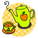 Apple tea. A western style tea set with apple texture on it, vector, illustration Royalty Free Stock Images