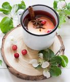 Apple tea cinnamon anis, flowers berries stock photos