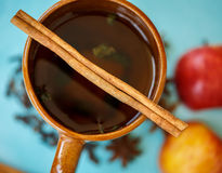 Apple tea with spices in a cup Stock Images