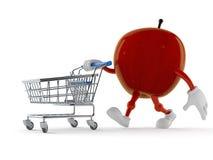 Apple tecken med shoppingvagnen royaltyfri illustrationer