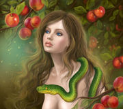 Apple temptation. Beautiful woman Eve and  snake. Stock Images
