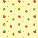 Apple texture. Seamless texture with apples on yellow background Royalty Free Stock Photo