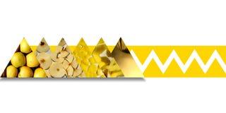 Apple-texturen binnen driehoeken verbindend door geel lint stock afbeeldingen