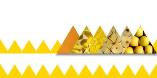 Apple textures inside triangles bound by jagged ribbon Royalty Free Stock Image