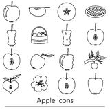 Apple theme black simple outline icons set eps10 Stock Images