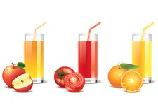 Apple, tomato and orange juice  Royalty Free Stock Photography