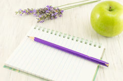 Apple on top of a notebook. Royalty Free Stock Photos