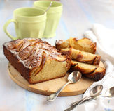 Apple-topped loaf cake stock photography