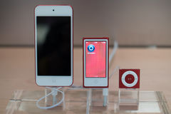 Apple Touch, Nano, and Shuffle RED Stock Images
