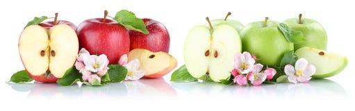Apple tragen rote grüne Scheibenhälfte der Apfelfrüchte lokalisiert auf Weiß Früchte Stockfotografie