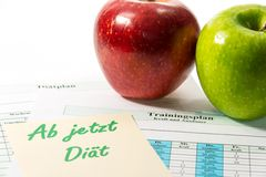 Apple and training schedule Stock Photography