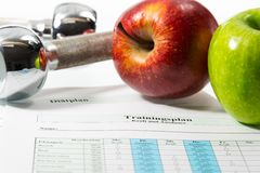 Apple and training schedule Royalty Free Stock Photography