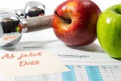 Apple and training schedule Stock Photos