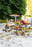 Apple on the tray. Before the party. Glasses with champagne and white wine before party in cafe. Fruit stock photography