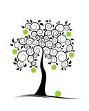 Apple tree. Illustrated abstract apple tree on white background royalty free illustration