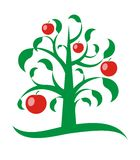 Apple tree. Red apple green tree. Vector illustration Stock Photo