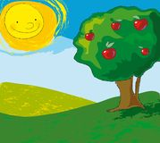 Apple tree. A colorful landscape with apple tree and a smiling sun Stock Photo
