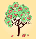 Apple tree. Vector stylized drawing of apple tree with ripe fruits royalty free illustration